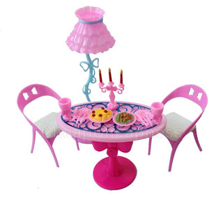 1 set Vintage Table Chairs For Dolls Furniture Dining Sets Toys For Girl Kid For Pink For Wholesale