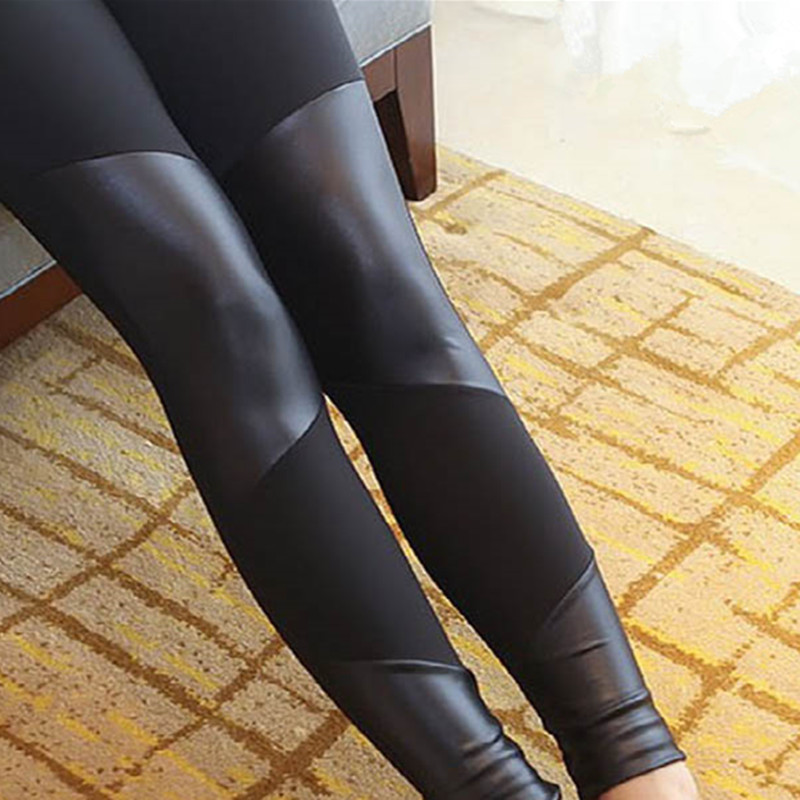 2018 Black   Leggings   Women Ankle-Length Four leather stitching   leggings   Pants Elasticity Female   Legging