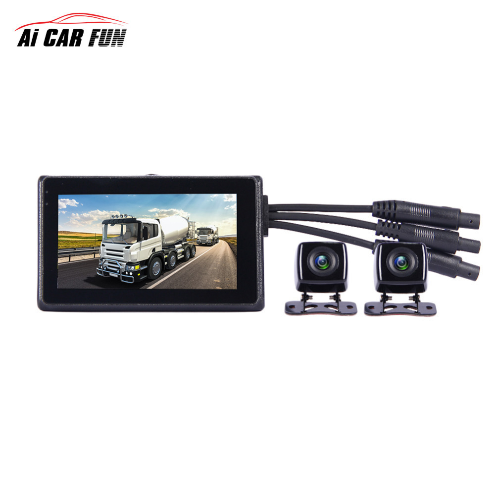 4CH Car Mobile DVR Security Video Recorder w//Cameras LCD Monitor Panoramic 360°