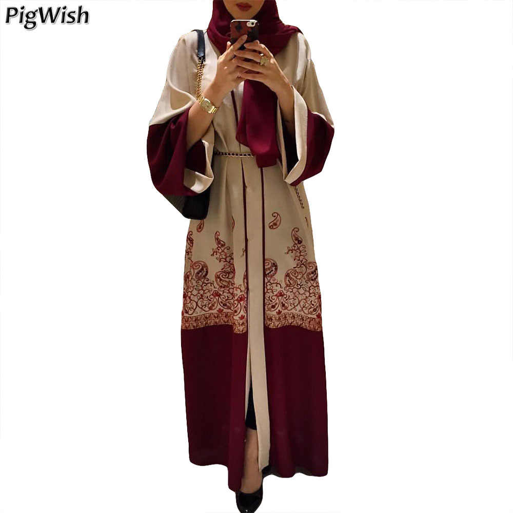 4b617973 2018 Women Muslim Dress Print Cardigan Abaya Dubai Turkish Kaftan Islamic  Maxi Dresses Long Sleeve Robes