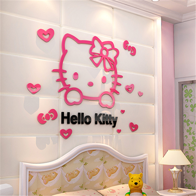 New Hello Kitty 3D Wall Stickers For Kids Rooms Three Dimensional Acrylic  Crystal Cartoon Bedroom Part 73