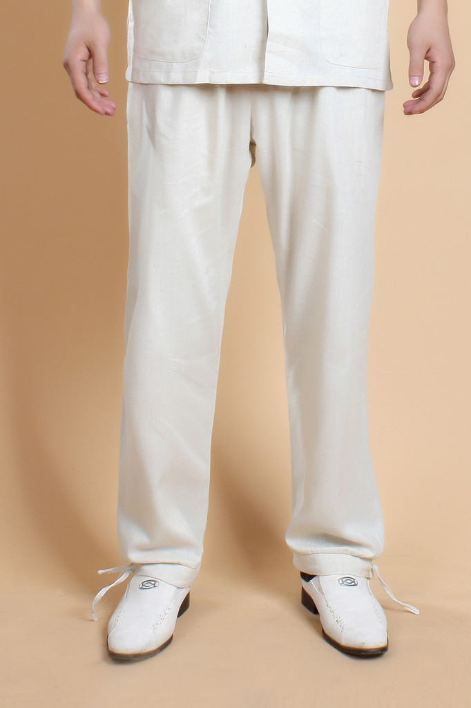 Classic Beige Mens Linen Kung Fu Pants Chinese Style Trousers Wu Shu Costume Dropshipping Size S M L XL XXL XXXL 0820