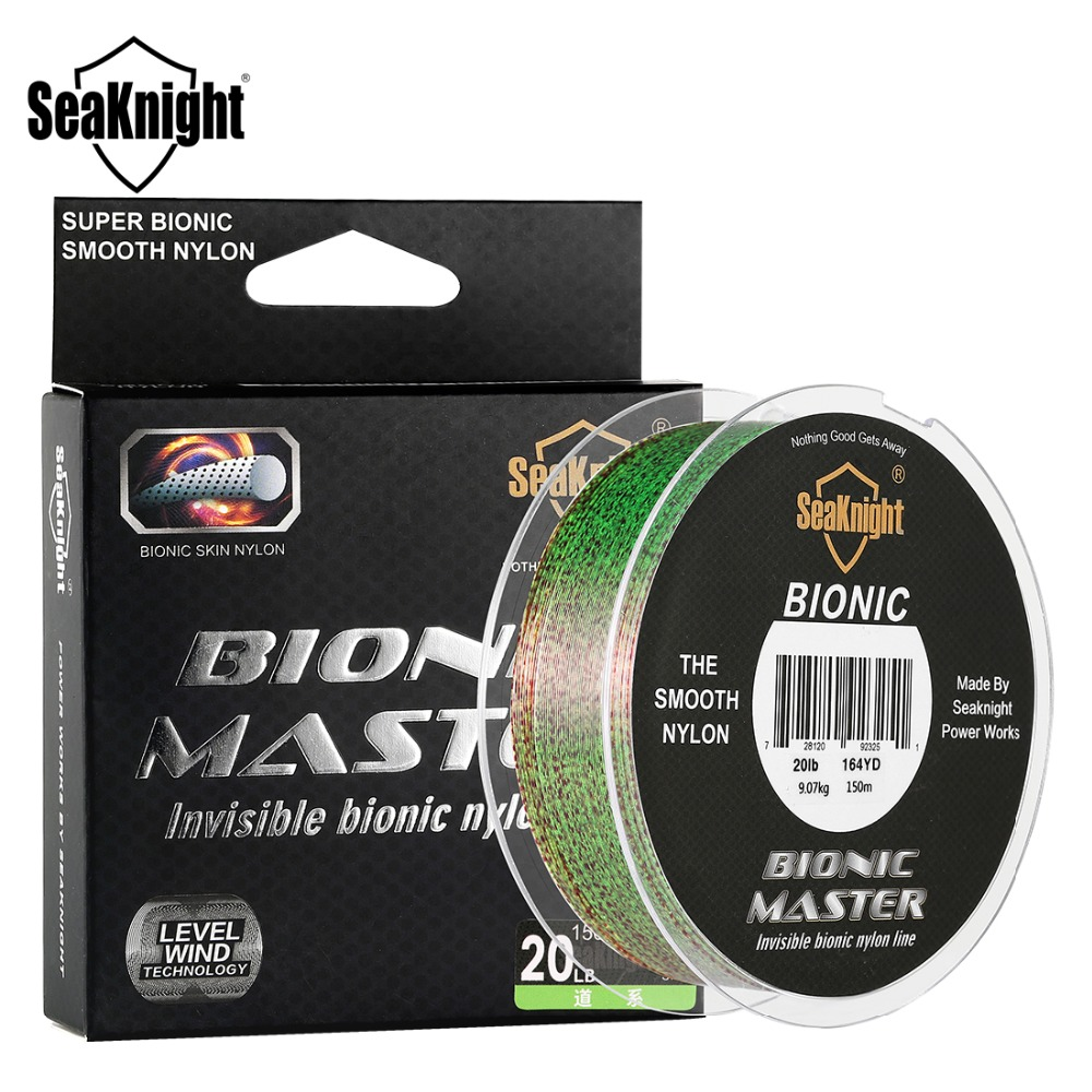 SeaKnight Nylon Fishing Line BIONIC MASTER 150M 2-25LB Invisible Spot fishing line Smooth 11.34KG Drag Line Camouflage