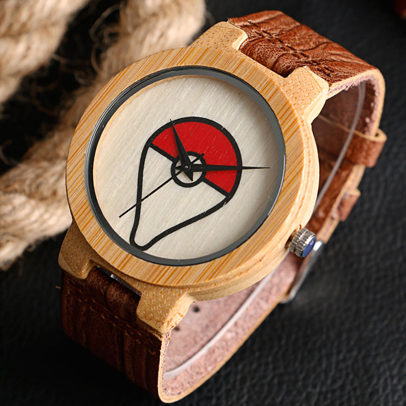 Modern Creative Wood Watch Pokemon Pokeball Bambusest lihtne ehtne - Meeste käekellad - Foto 2