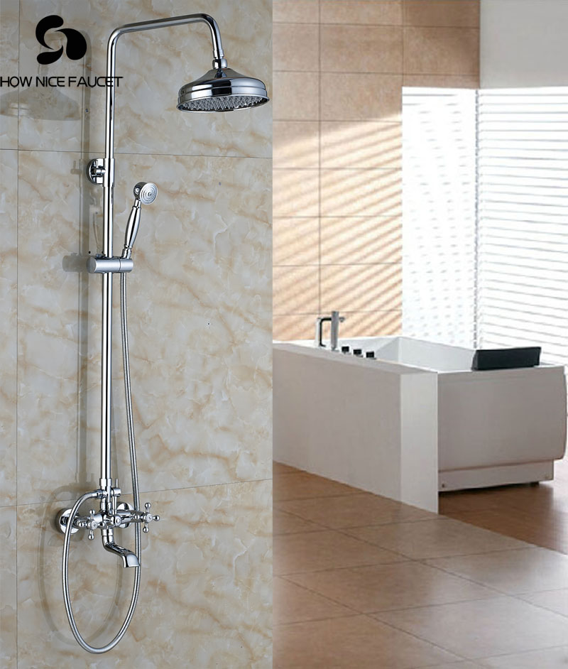 Wall Mount Chrome Polish Shower Set Bathtub Shower Units With Hand ...