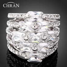 Classic Austrian Crystal Platinum Plated Party Jewelry Hot Sale Fashion Elegant Zircon Imitation Diamond Wedding Rings For Women