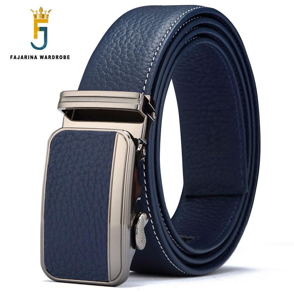 FAJARINA Men's Top Quality Pure Cowhide Belts Fashion 100% Genuine Leather Cover Automatic Blue 3.5cm Width Belt Men N17FJ417