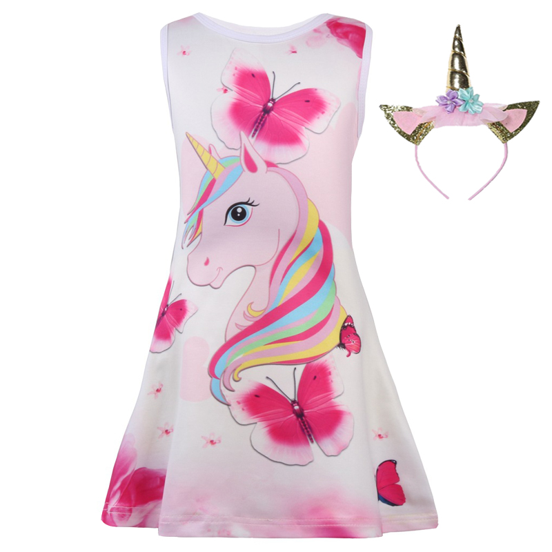 2018 bebé niños vestidos niñas vestido sin mangas ropa niños princesa fiesta vestido unicornio ropa