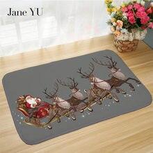 Jane YU Door, Antiskid And Dust Collecting Mat, Christmas Series Snowman Reindeer Bathroom Doormat.