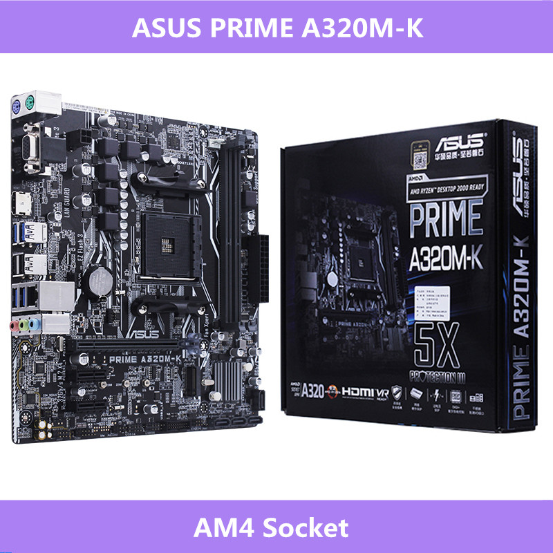 Carte mère Asus AMD Ryzen AM4 prise DDR4 VGA HDMI M.2 USB 3.1 Micro ATX PRIME A320M-K
