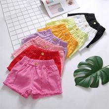 Новая летняя модная детская одежда для маленьких девочек, однотонный хлопковый Шорты Брюки для маленьких девочек короткие штаны с дырками детская одежда для девочек с шортами Y02