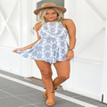 2016 Summer style blue floral print women jumpsuit romper Sexy strap backless paysuit Casual bow beach overalls