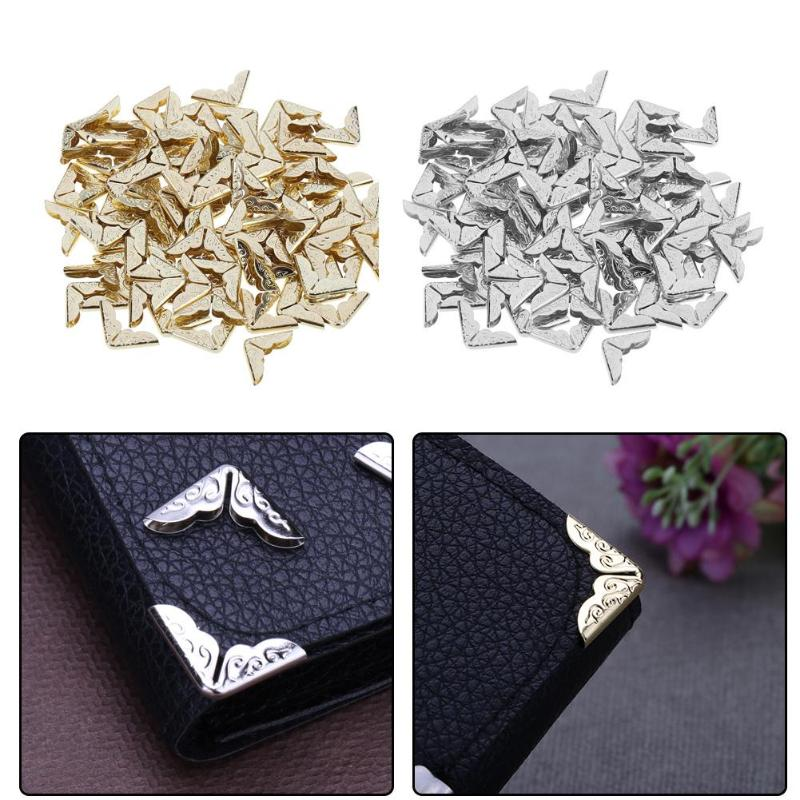100pcs Notebook Brass Metal Spell Sketch Exercise Book Protectors Scrapbooking Albums Menus Folder Corner Protectors Bronze Tone