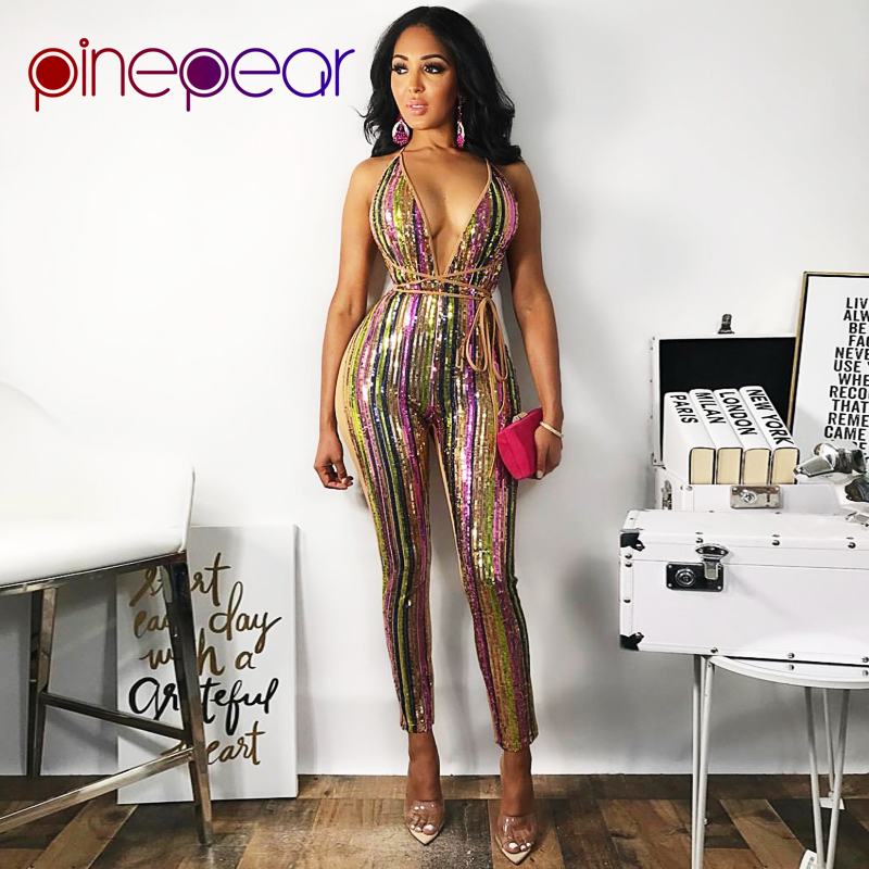 e1b152ad172f PinePear New 2019 Colorful Striped Glitter Sequin Jumpsuit Women Sexy Club  Spaghetti Strap Backless Bodycon Bandage Bodysuit-in Jumpsuits from Women s  ...