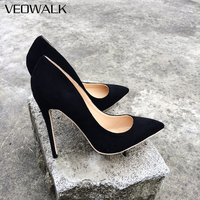 97b3e91195bf Veowalk Women Suede Stilettos Pumps Elegant Ladies Pointed Toe Classic High  Heels Sexy OL Slip on