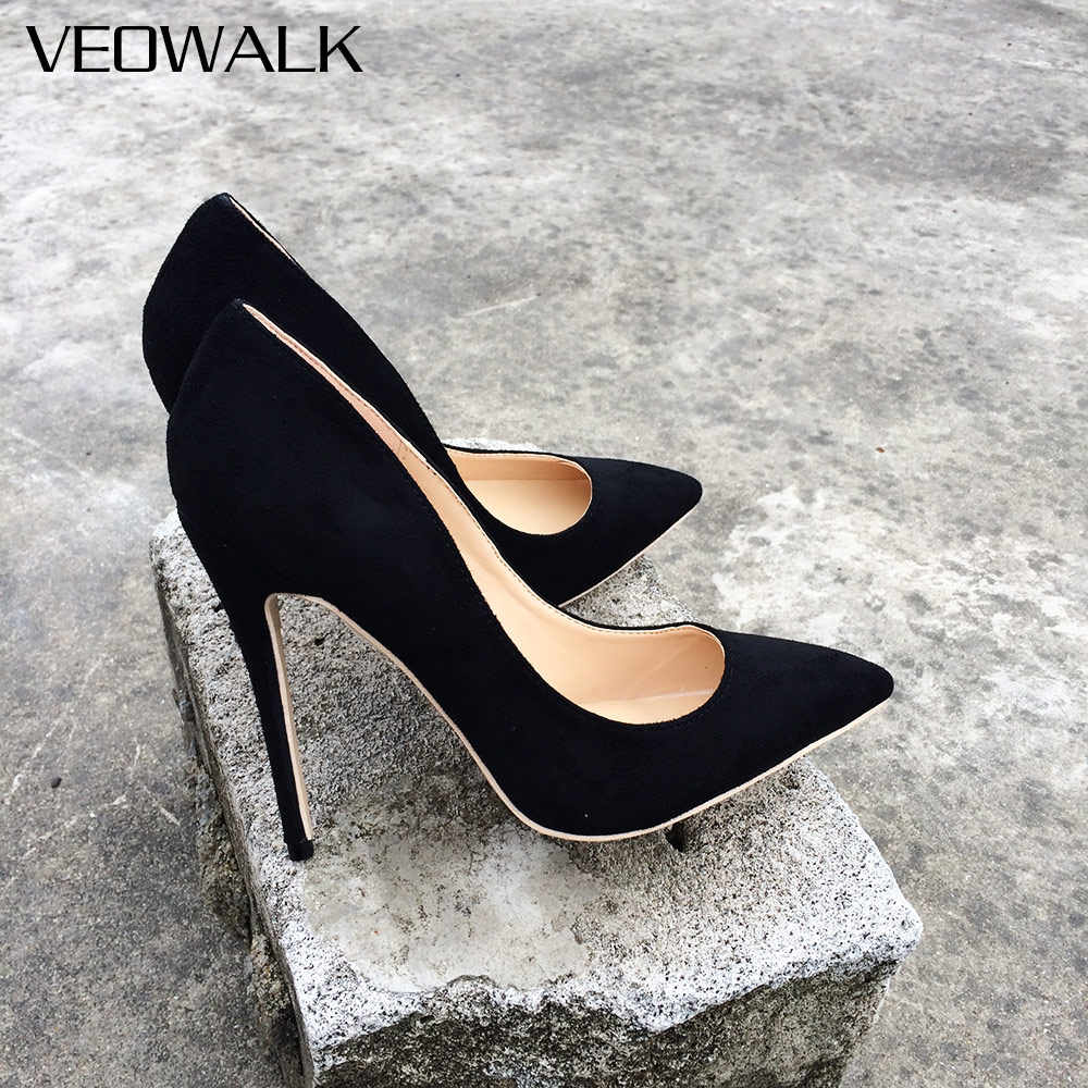 d46d1d05cc Detail Feedback Questions about Veowalk Women Suede Stilettos Pumps Elegant  Ladies Pointed Toe Classic High Heels Sexy OL Slip on Shoes Black  Customized ...