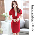 (Jacket+Skirt) Womens Summer Fashion Short Sleeve Office Uniform Designs Women Ladies Business Outfits Red Grey Mini Skirt Suits
