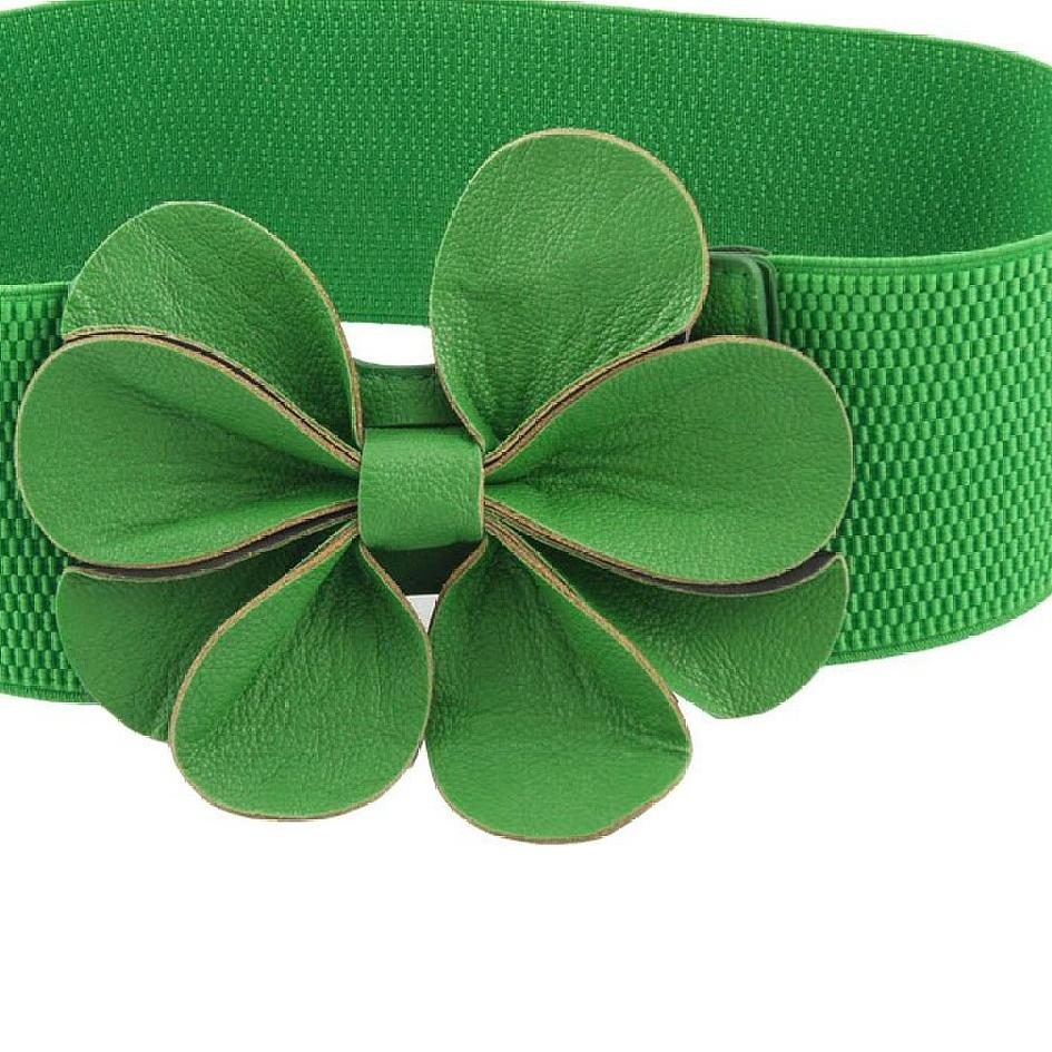 Newest Green Faux Leather Flower 7.5cm Wide Elastic Cinch   Belt   for Woman