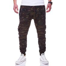 HOT2018 Outdoor spring autumn sport Zipper pocket Wrinkle hip hop jogging Running track pants men camouflage cargo trousers
