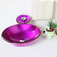 High Quality Victory Round Purple Tempered Glass Vessel Bathroom Sink Set With Waterfall Faucet Mounting Ring