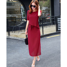 Fashion Women Long Dresses 2019 Summer Casual Short Sleeve Princess Solid Chiffion Clothes  C275