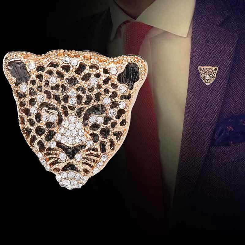 ใหม่ Rhinestone Retro Hollow Leopard HEAD Brooches สำหรับ Man แฟชั่นเครื่องประดับหรูหราชายชุดเครื่องประดับของขวัญวันพ่อ