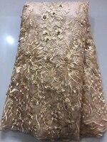 Chương trình khuyến mại vải ren Châu Phi chất lượng tốt nhất pháp màu be màu thêu vật liệu với nhiều hạt cho may đám cưới ăn mặc