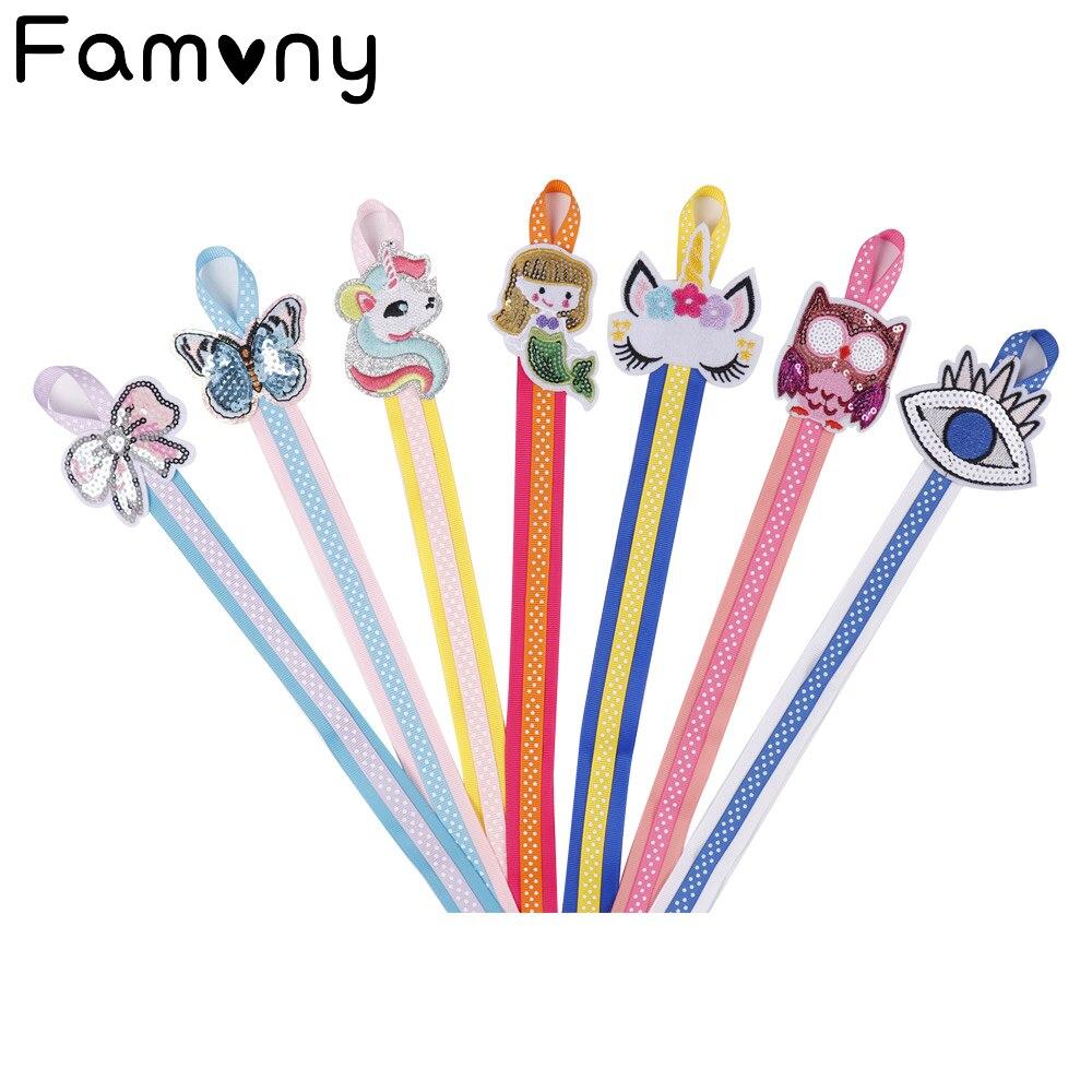 Lovely Hair Bow Holder Handmade Cartoon Dots Long Hair Clip Organizer Grosgrain Ribbon Barrette Holders For Baby Girls