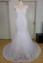 Vestido de Noiva Renda Sexy Lace Sereia Vestidos de Casamento com Decoração de Pérolas no Pescoço e na Cintura
