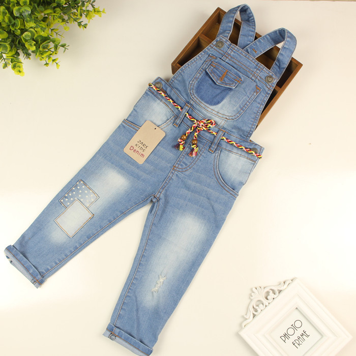 e28952f62433 Baby Girls Overall Denim Jeans Girls Strap Long Pants Kids Jumpsuit Jeans  Girls Twist Straps Rompers Denim Trousers-in Jeans from Mother   Kids on ...