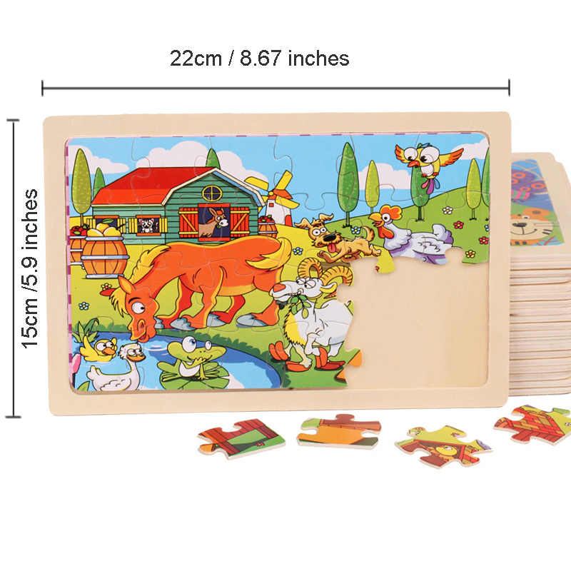 Puzzles For Kids 24 Pieces Cartoon Animals Jigsaw Puzzles Baby Learning Toys Wood Children Toys Educational Games Wooden Puzzles