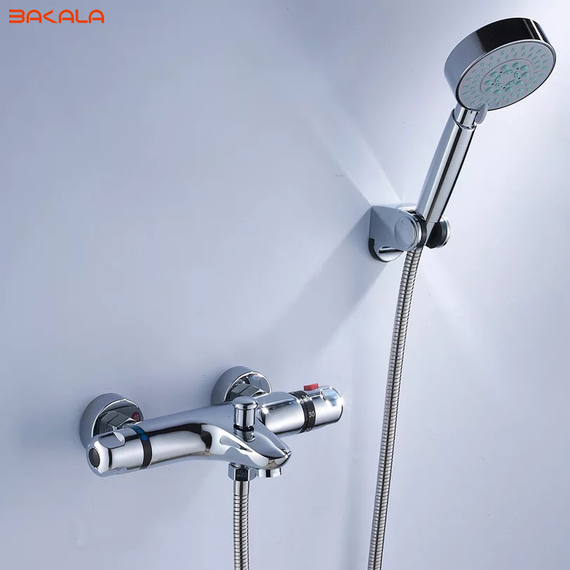 BAKALA Shower Faucet Set Bathroom Thermostatic Faucet Chrome Finish Mixer Tap W/ ABS Handheld Shower Wall Mounted modern thermostatic shower mixer faucet wall mounted temperature control handheld tub shower faucet chrome finish