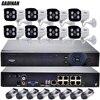 GADINAN 48V 8CH PoE Network NVR IEEE802 3af 8PCS 1080P Waterproof PoE IP Camera Kit Surveillance