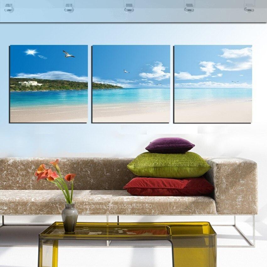 Modern Home Decor 3 Piece Wall Art Canvas Painting Tropical Seascape Coastal Beach Beautiful Pictures Print
