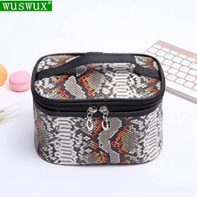 serpentine Professional cosmetic bag new fashion PU women make up travel Organizer cases casual makeup beauty