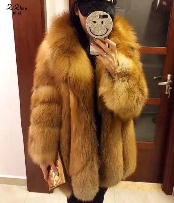 New Fashion Luxury Full Pelt Winter Warm Long Genuine Fox Fur Coats For Women Real Fox Fur Jacket Turn-down Collar 180314-2
