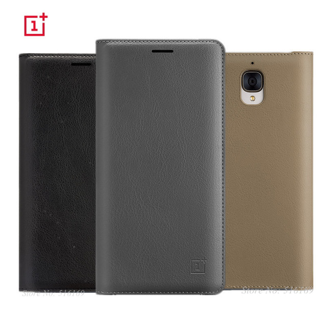 5e3024d88 Original for Oneplus 3 3T Flip Case One Plus Three Oneplus3 Official  Protective Leather Back Cover with Sleep Wake Up+Card Slot