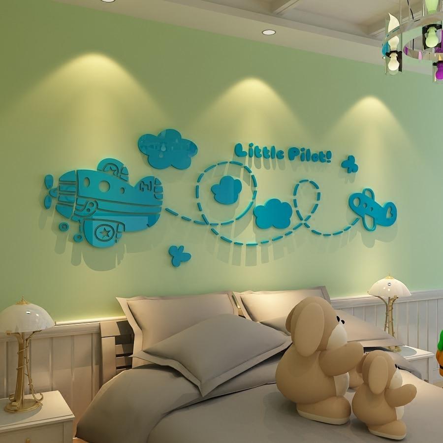 aviones pequeos pilotos de acrlico pegatinas de pared de dibujos animados para nios sala de decoracin de la pared del sitio del beb d perspectiva