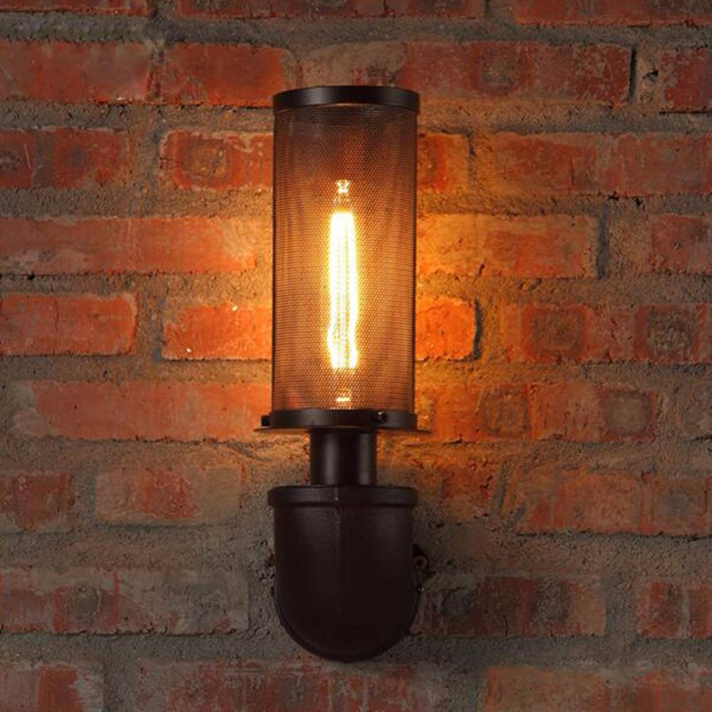 Water Pipe Wall Lamp Vintage American Country Mesh Cover Industrial Retro Wustic Lights Warehouse Sconce for Home Light fixtures water pipe wall lamps vintage american country mesh cover industrial retro wustic wall warehouse sconce for home lighting light