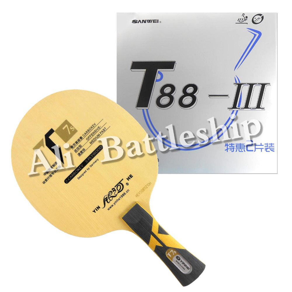 Original Pro Table Tennis Ping Pong Combo Racket Galaxy Yinhe T7s Blade with 2x Sanwei T88-III Rubbers Long Shakehand FL цена