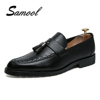 Fashion Leather Luxury Brand Mens Pointed Toe Dress Shoes Tassel Footwear Male Formal Ballet Flats Oxford
