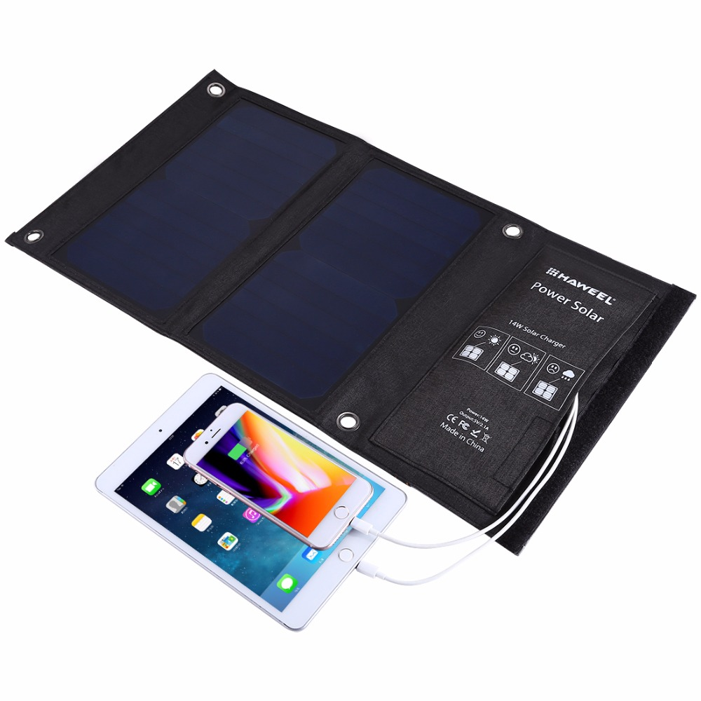 HAWEEL 7W 14W 21W Portable Solar Charger for Mobile Phone Camping Travel Foldable Solar Panel Charger with Dual USB Ports sunwalk elegeek 21w foldable portable solar panel charger battery 18v solar mobile phone cellphone charger for phones tablets
