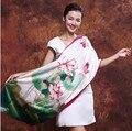 Китайский стиль шелк шарфы вручную - доход сторона элегантный зеленый lotus размер : 170 x 52 12 мм