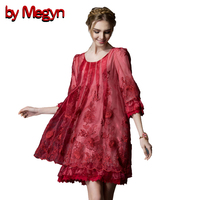 by Megyn 2017 Spring Women Summer Dress Female Half Sleeve Embroidery Casual Vintage Boho Lace Mini Dresses Plus Size XXL 3A 30