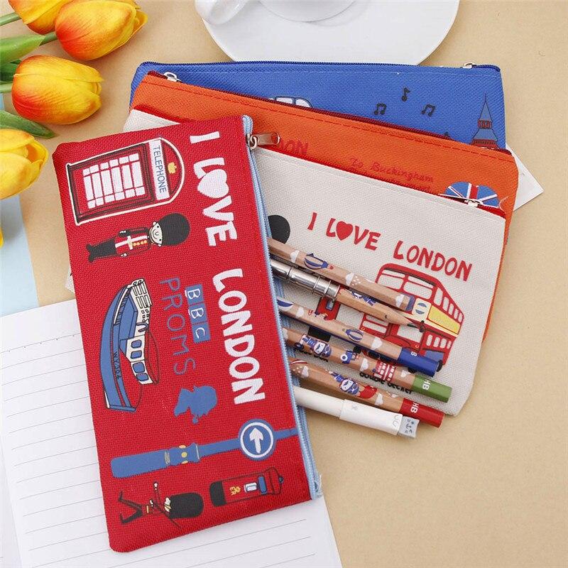 4 Colors London Style Pencil Case Zipper Canvas Pen Bag Cosmetic Makeup Bag School Supplies Student Stationery Storage Organizer