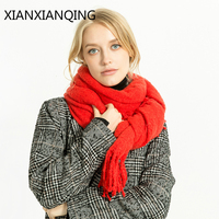 XIANXIANQING Fashion Solid Scarf Women Winter Echarpe Hiver Femme Tassles Shawls Warm Capes Womens Scarves Street