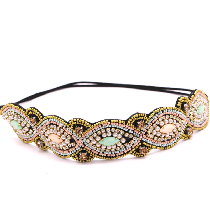 Metting Joura Women Girls Bohemian Punk  Vintage Braided Tube Seed Beads Knitted Flower Headband Hair Accessories vintage bohemian ethnic colored tube seed beads flower rhinestone handmade elastic headband hair band hair accessories