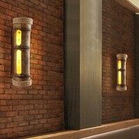 Лофт промышленного ветер Бамбук Длинные круглые настенные светильники Бар Кафе Ресторан art Личность Творческая конопли кронштейн с подсве