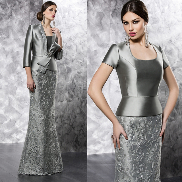 5c59460160 Grey Color Long Lace Mermaid Mother of the Bride Dresses with Jacket  Floor-Length vestidos de mae noiva plus size MBD129