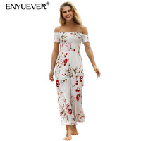 Enyuever Casual Floral Jumpsuits Summer Overalls Women Off Shoulder Sleeve Beach Holiday Loose Wide Leg Boho Jumpsuit Streetwear